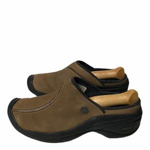 Keen Brown Leather Slip On Clogs 9
